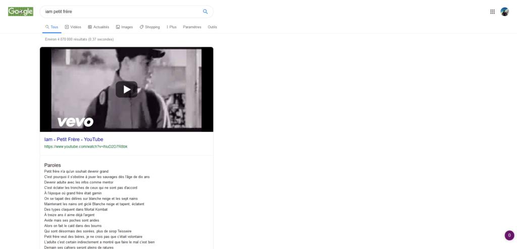 Les paroles de Petit frère, sur Google