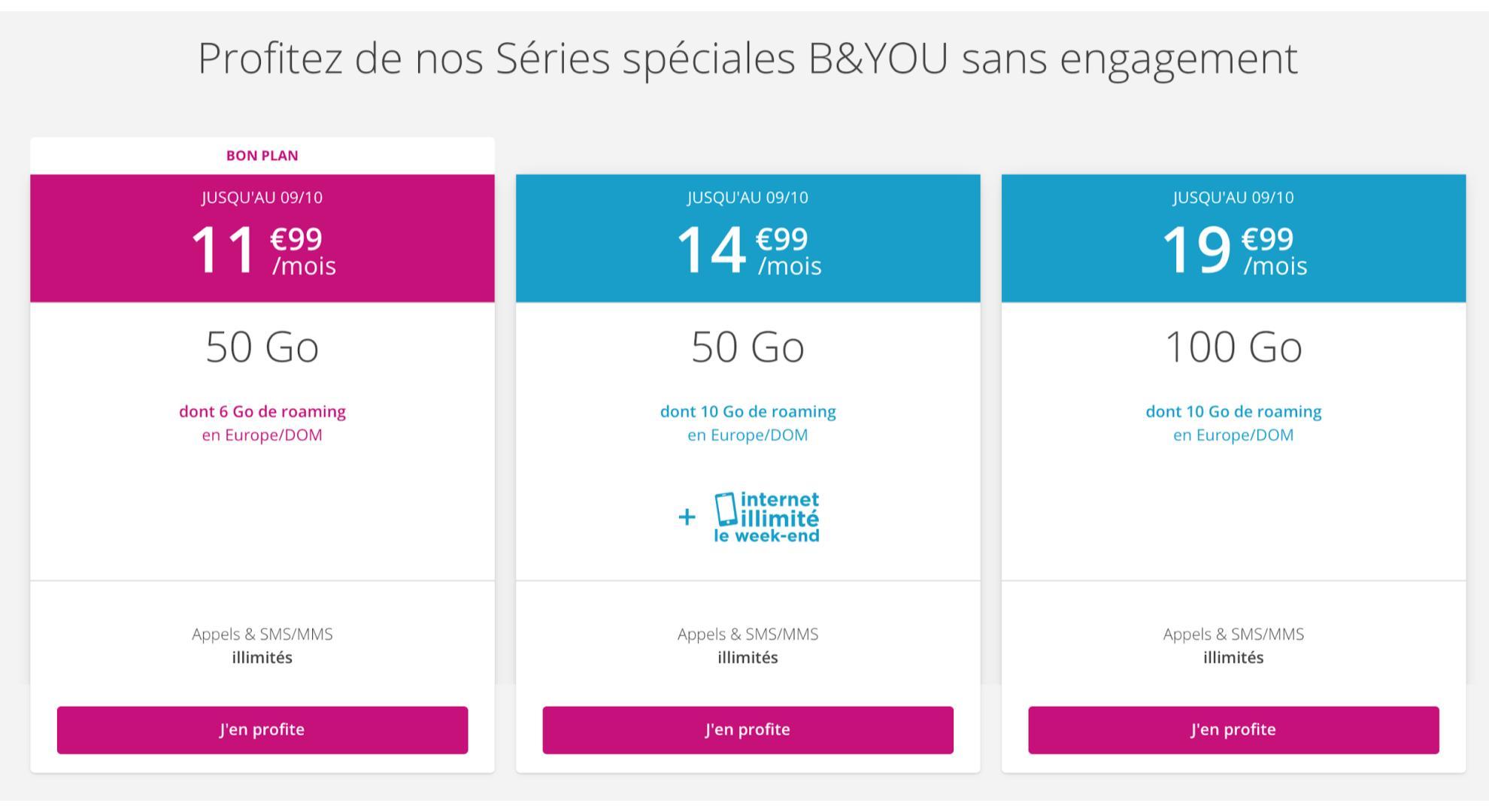 Le Deal de La Vie : B&You répond à Sosh avec 50 Go pour 11,99 euros mensuels « à vie »