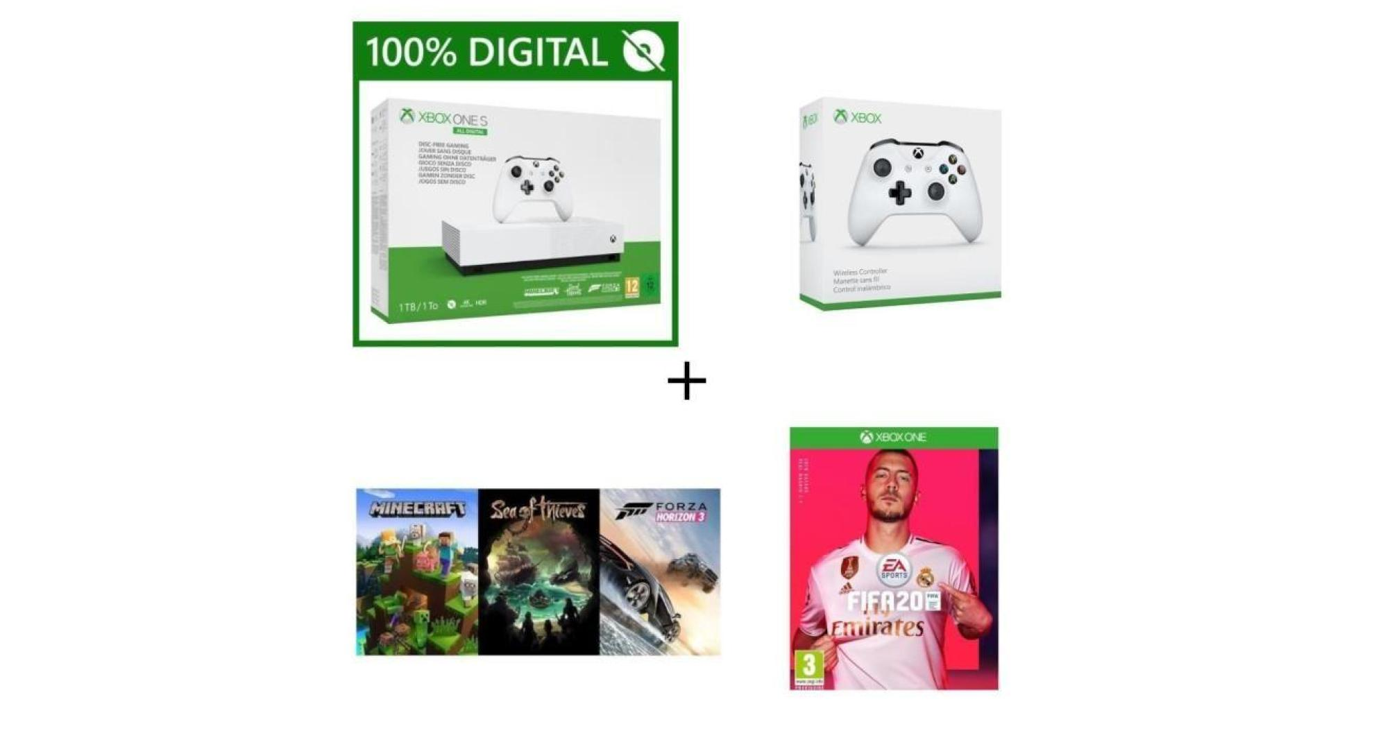 Pour moins de 200 euros vous aurez une Xbox One S all digital, FIFA 20, une autre manette et 3 autres jeux
