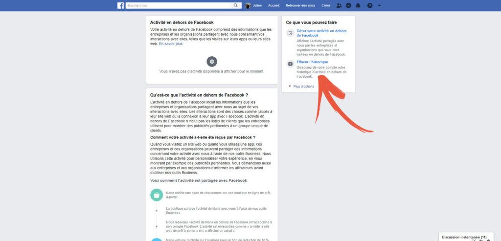 Accueil Activité en dehors de Facebook