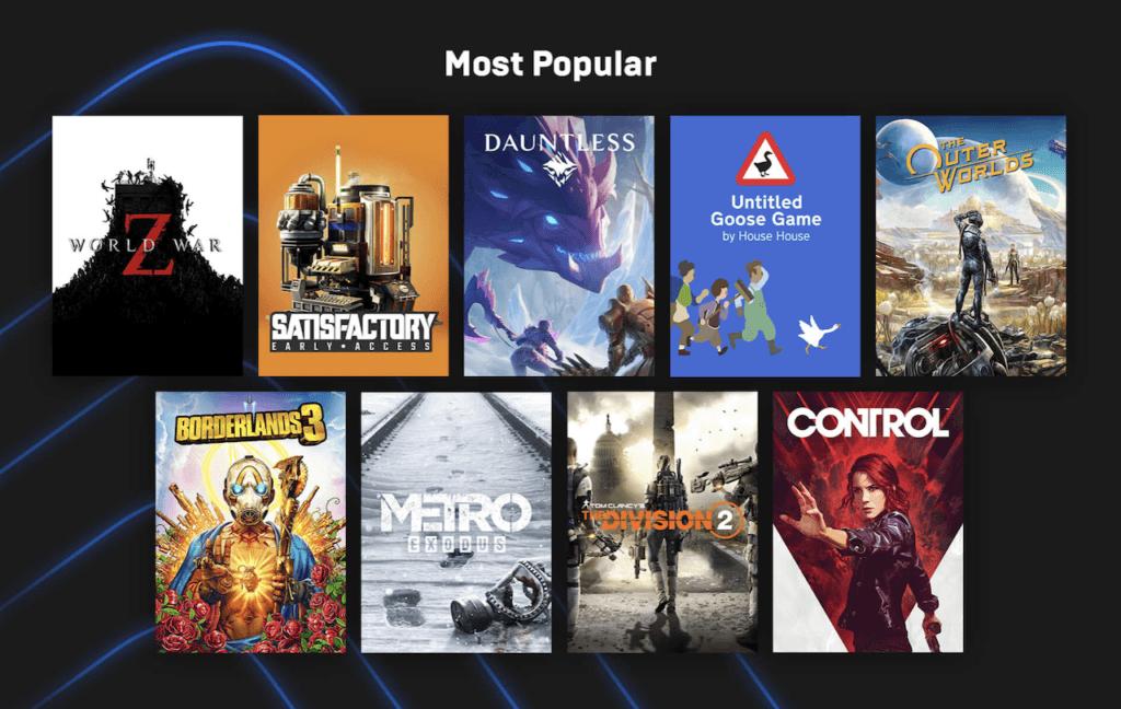 Les jeux populaires en 2019 sur Epic Games Stores