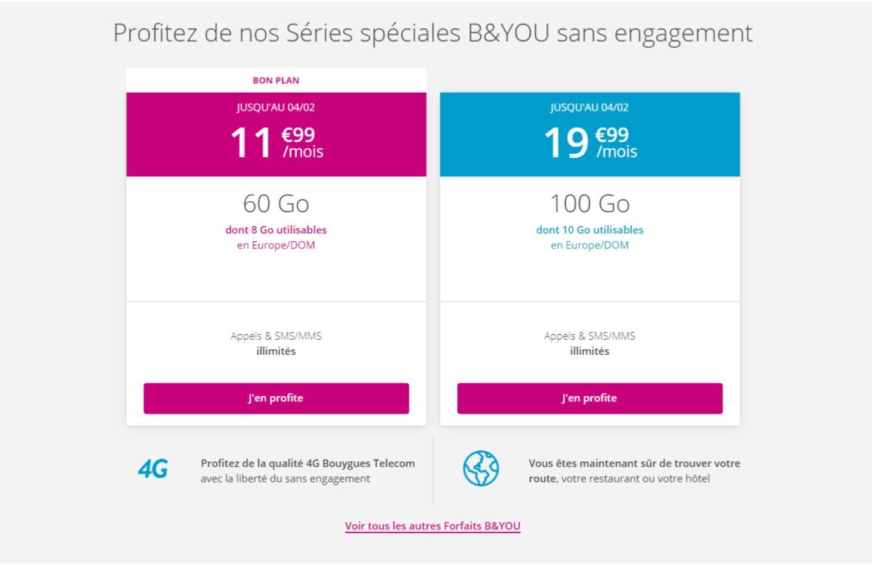 Le Deal du Jour : B&You propose un forfait 4G 60 Go à 11,99 €/mois pendant les soldes