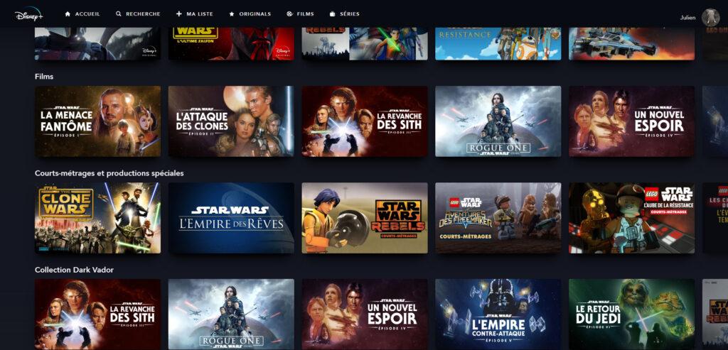 Films et séries Star Wars Disney+