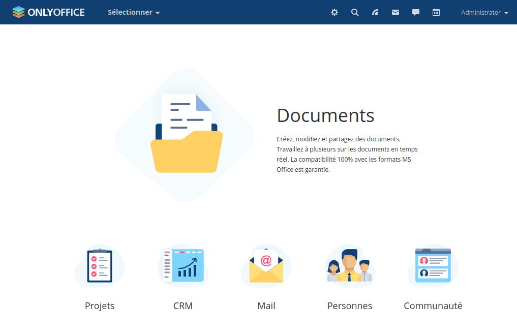 L'interface d'accueil de OnlyOffice.