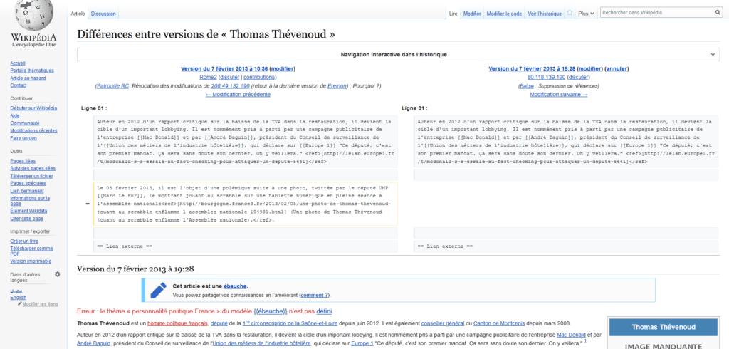 Différences entre versions de Thomas Thévenoud Wikipédia