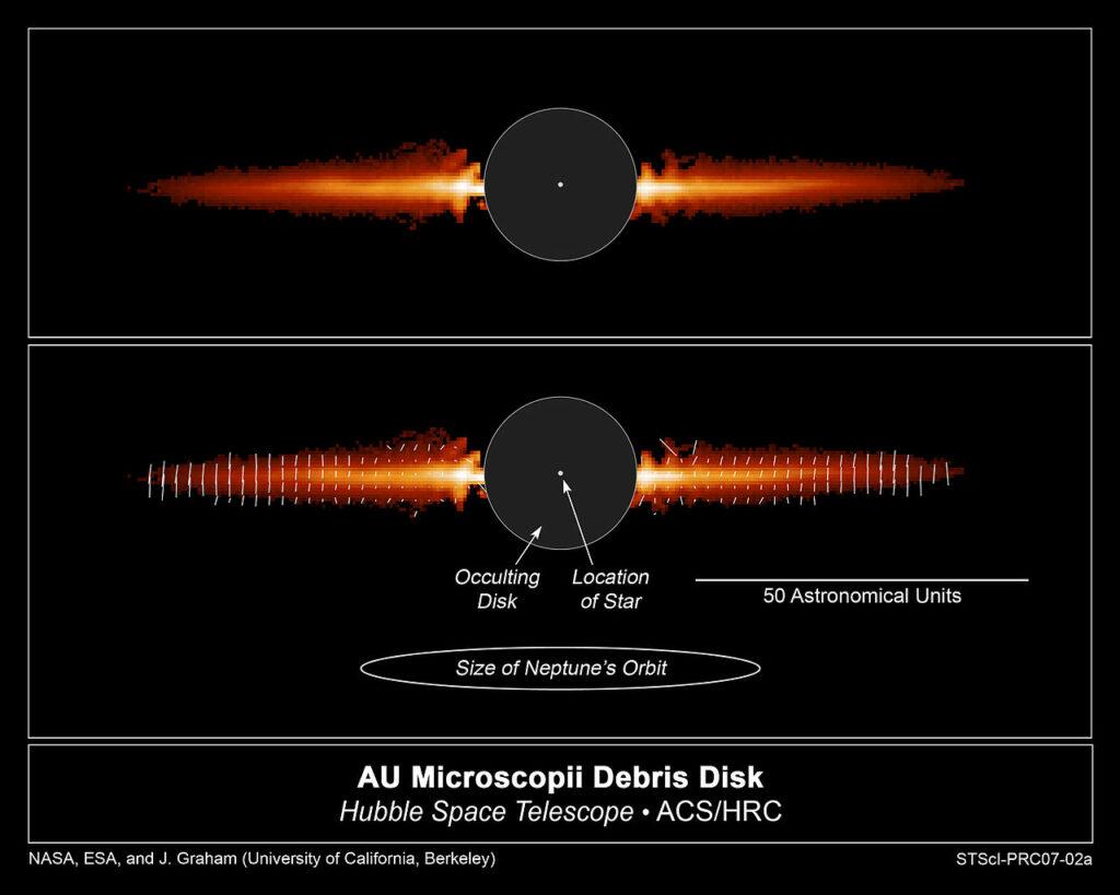 Le disque de débris d'AU Microscopii. Source : Hubble