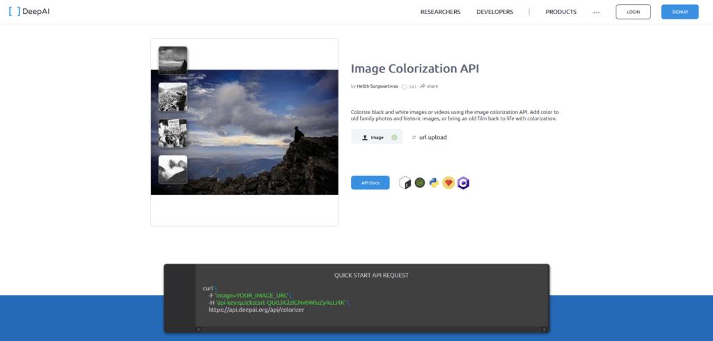 DeepAI Image Colorization