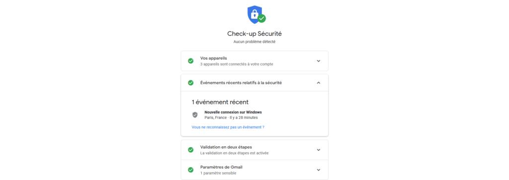 Google Check-up Sécurité