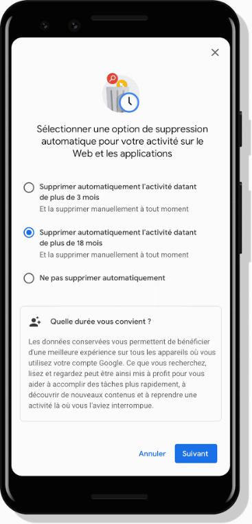 Google suppression automatique