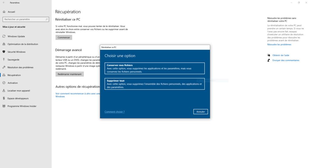 Réinitialisation Windows 10