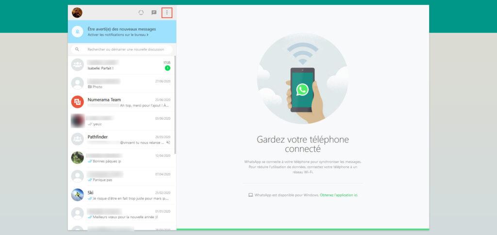 WhatsApp web thème clair