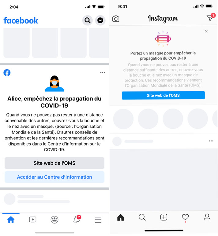 Facebook masques Instagram