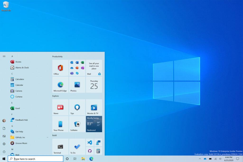 nouveau menu Démarrer Windows 10 thème clair