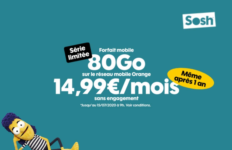 Sosh renouvelle son excellent forfait 80 Go à 14,99 euros par mois