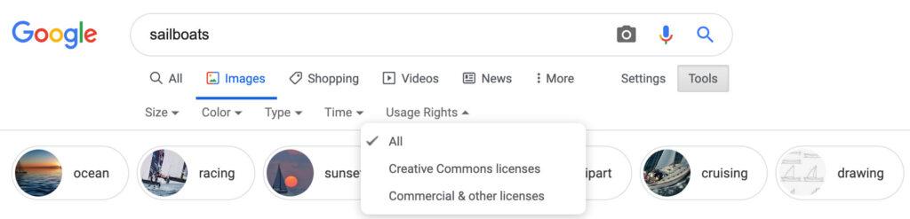 Google Images filtre licence