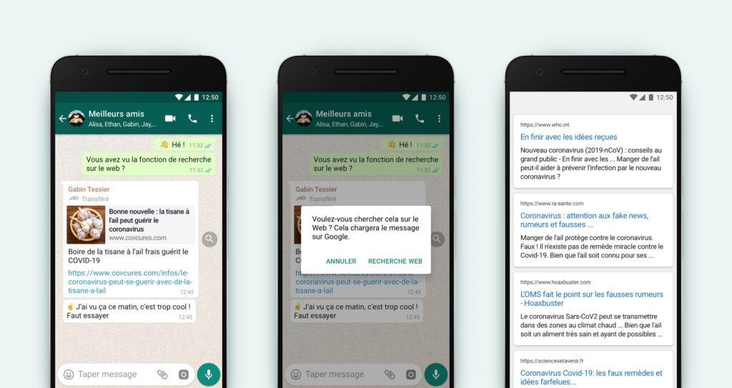 WhatsApp recherche désinformation