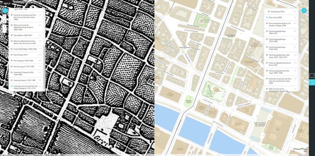 Il n'y a pas loin de 300 ans d'écart entre ces deux cartes.