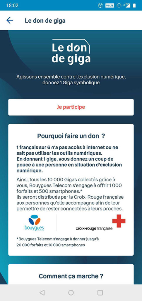 Bouygues Telecom don de giga