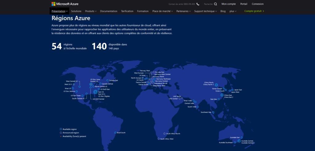 Régions Microsoft Azure