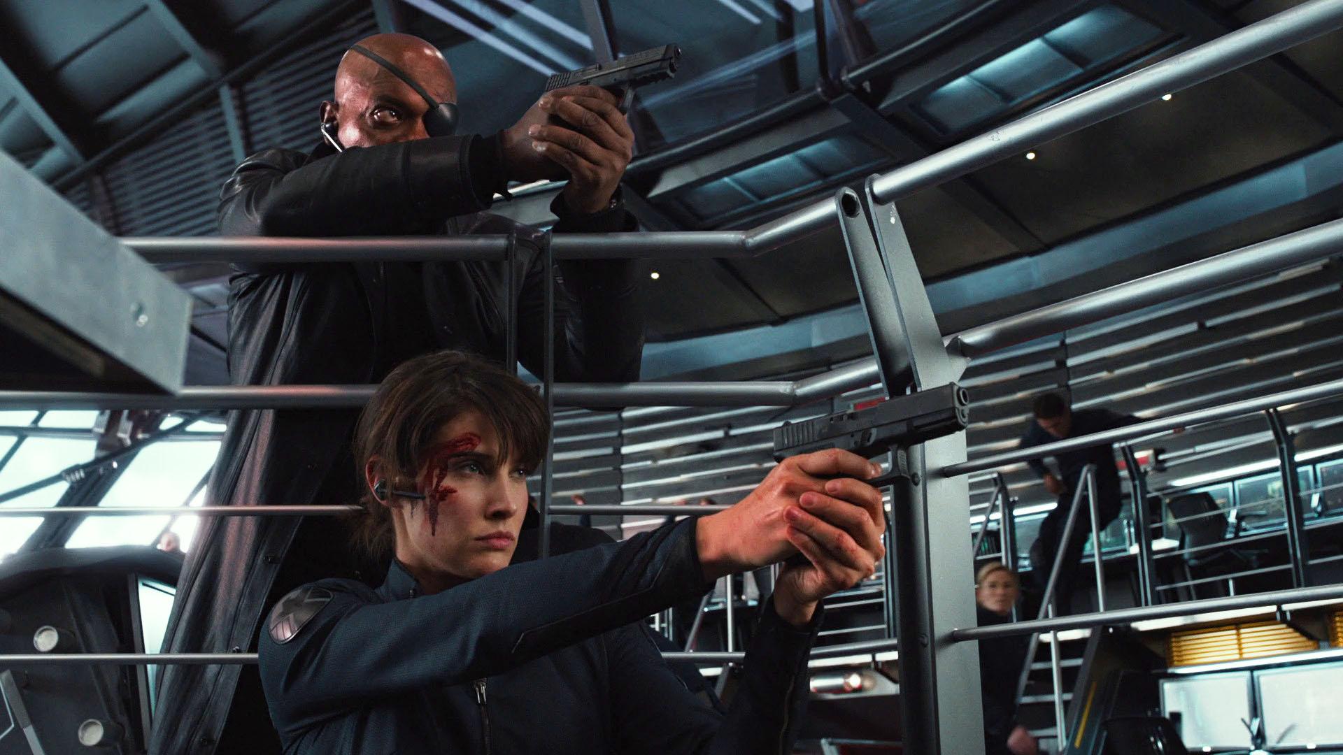 Nick Fury et Maria Hill, les deux dirigeants du SHIELD