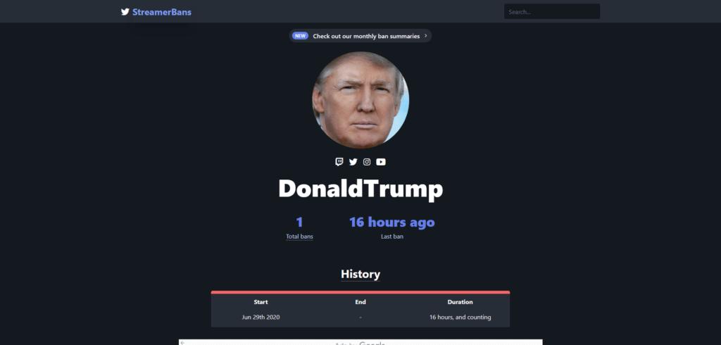 Twitch DonaldTrump StreamerBans