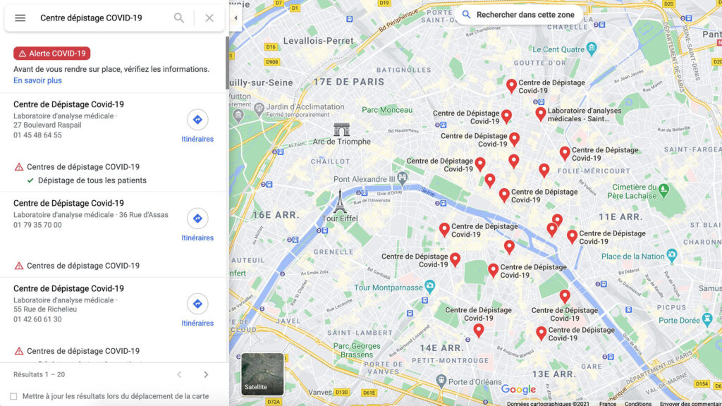 Google Maps dépistage