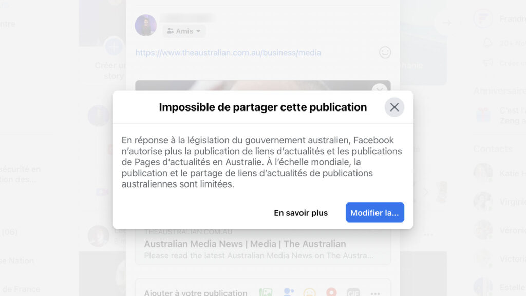 Facebook australie