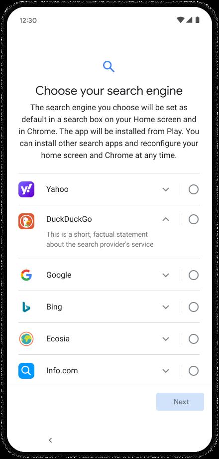 Google Android moteur de recherche