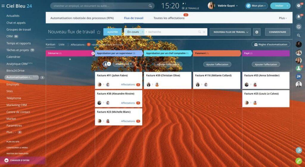 tableau kanban interface gestion de projet bitrix24