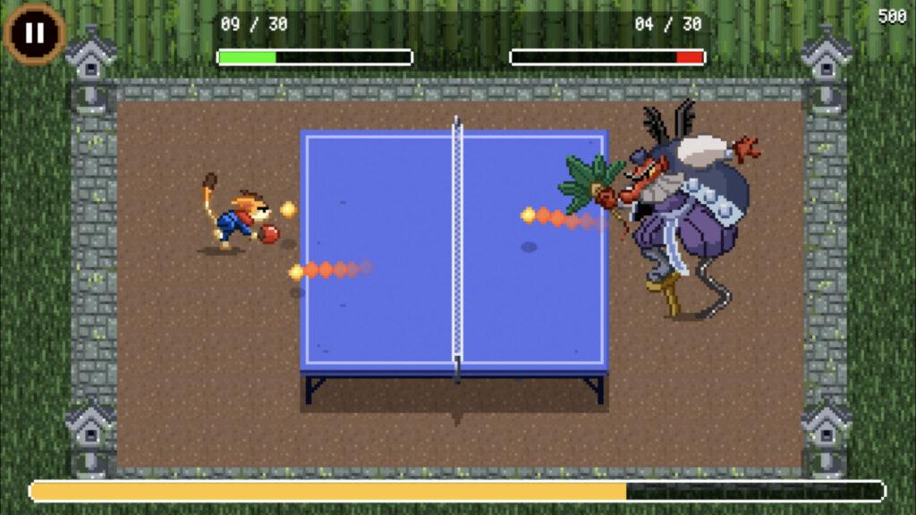 Prise d'écran du mini-jeu du tennis de table
