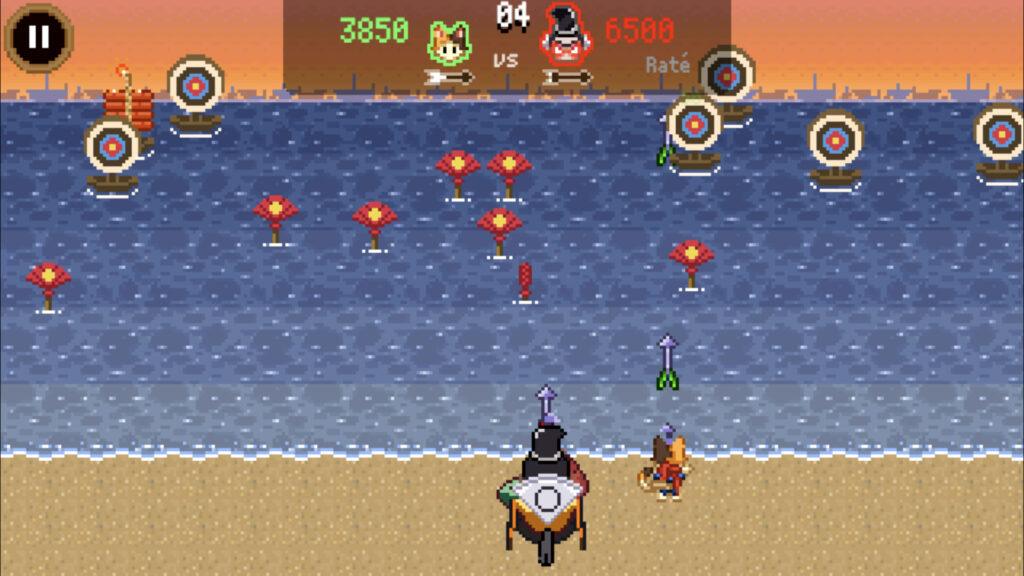Prise d'écran du mini-jeu du tir à l'arc
