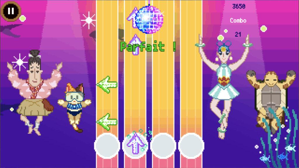 Prise d'écran du mini-jeu de la natation synchronisée