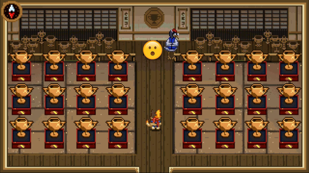 Votre personnage se trouve face à une lignée de trophées que vous avez gagné pendant le jeu.