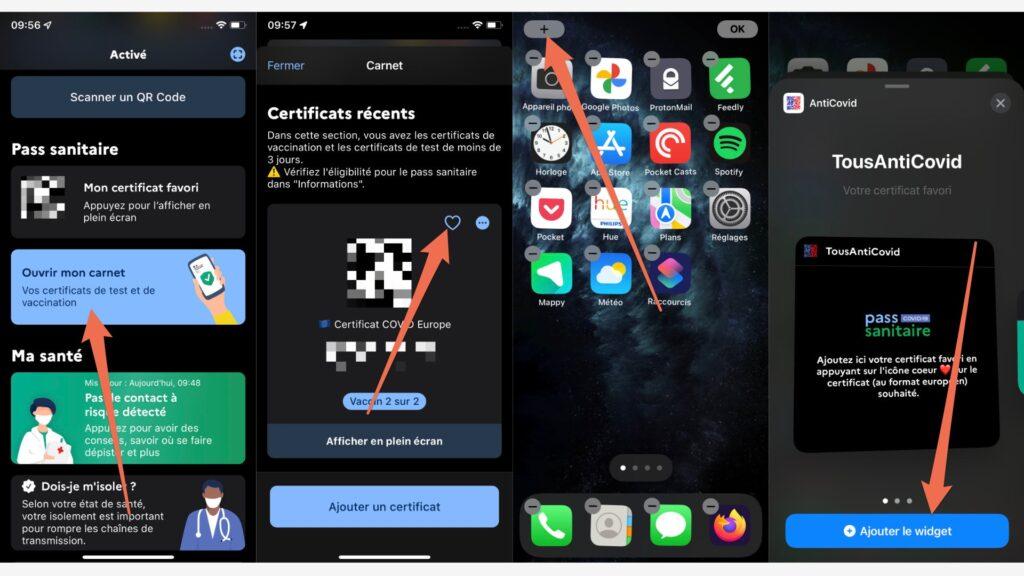 La procédure pour ajouter son pass sanitaire en widget sur iPhone