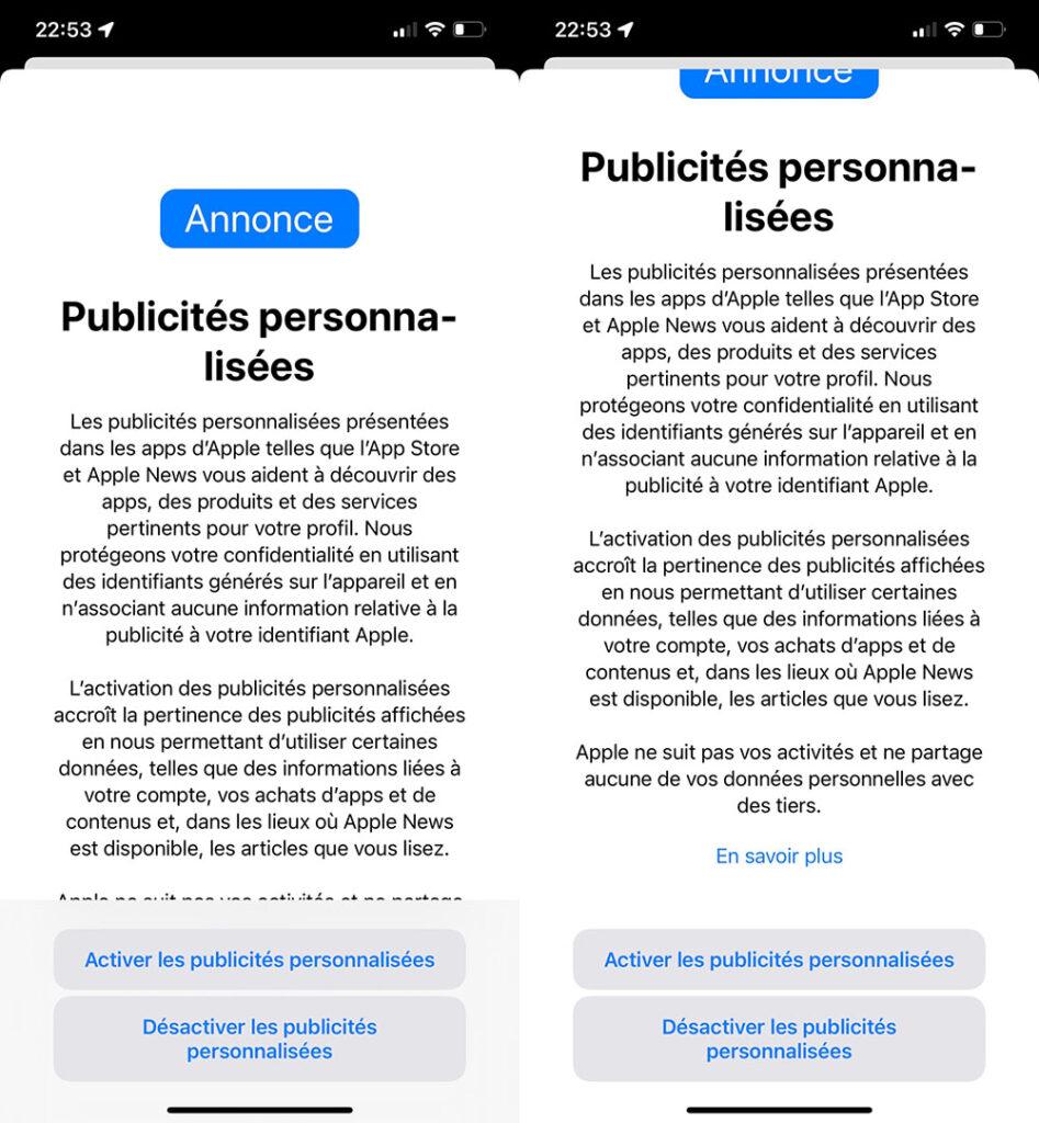 Apple iOS 15 publicité ciblée