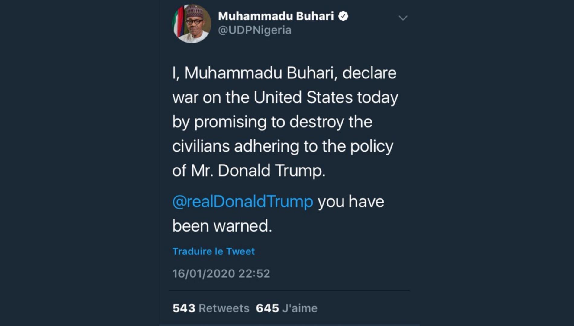 Fausse déclaration de guerre aux USA : l'histoire surréaliste du « faux hacking » du compte du Nigeria