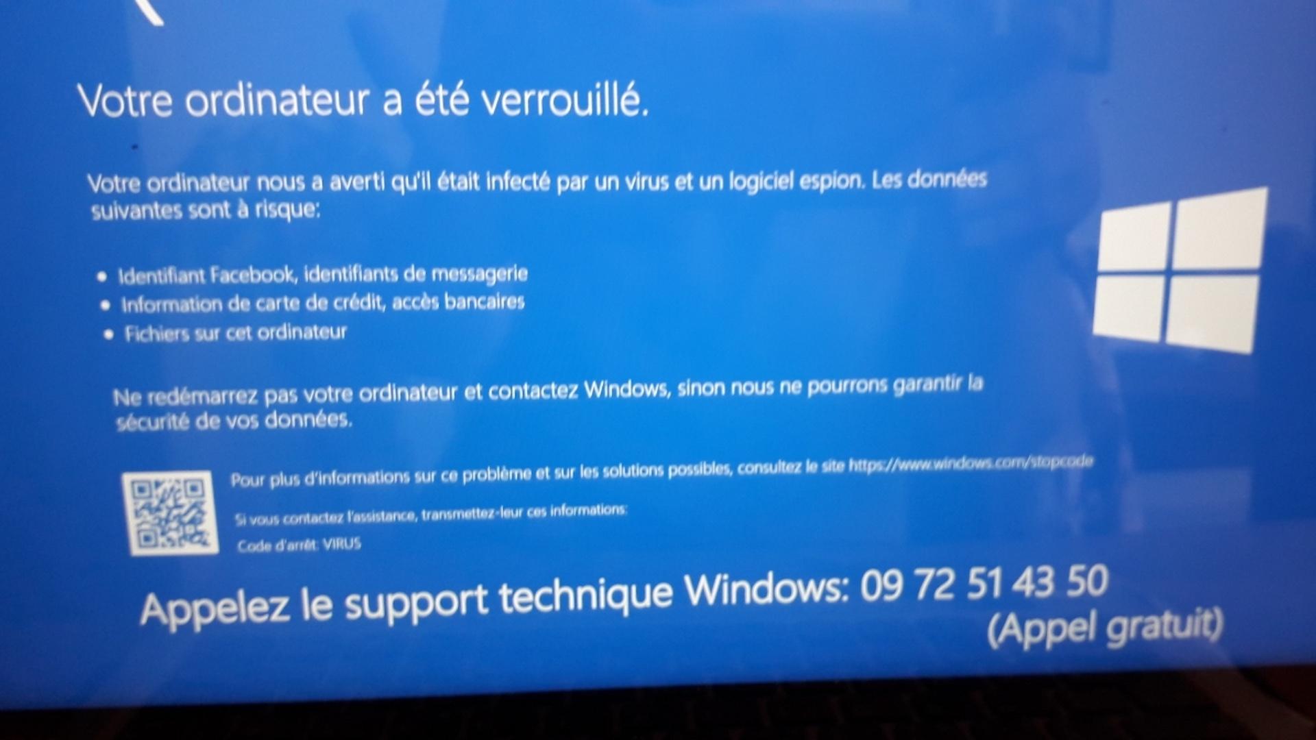 «Votre ordinateur a été verrouillé»: n'appelez pas, c'est une arnaque au support technique