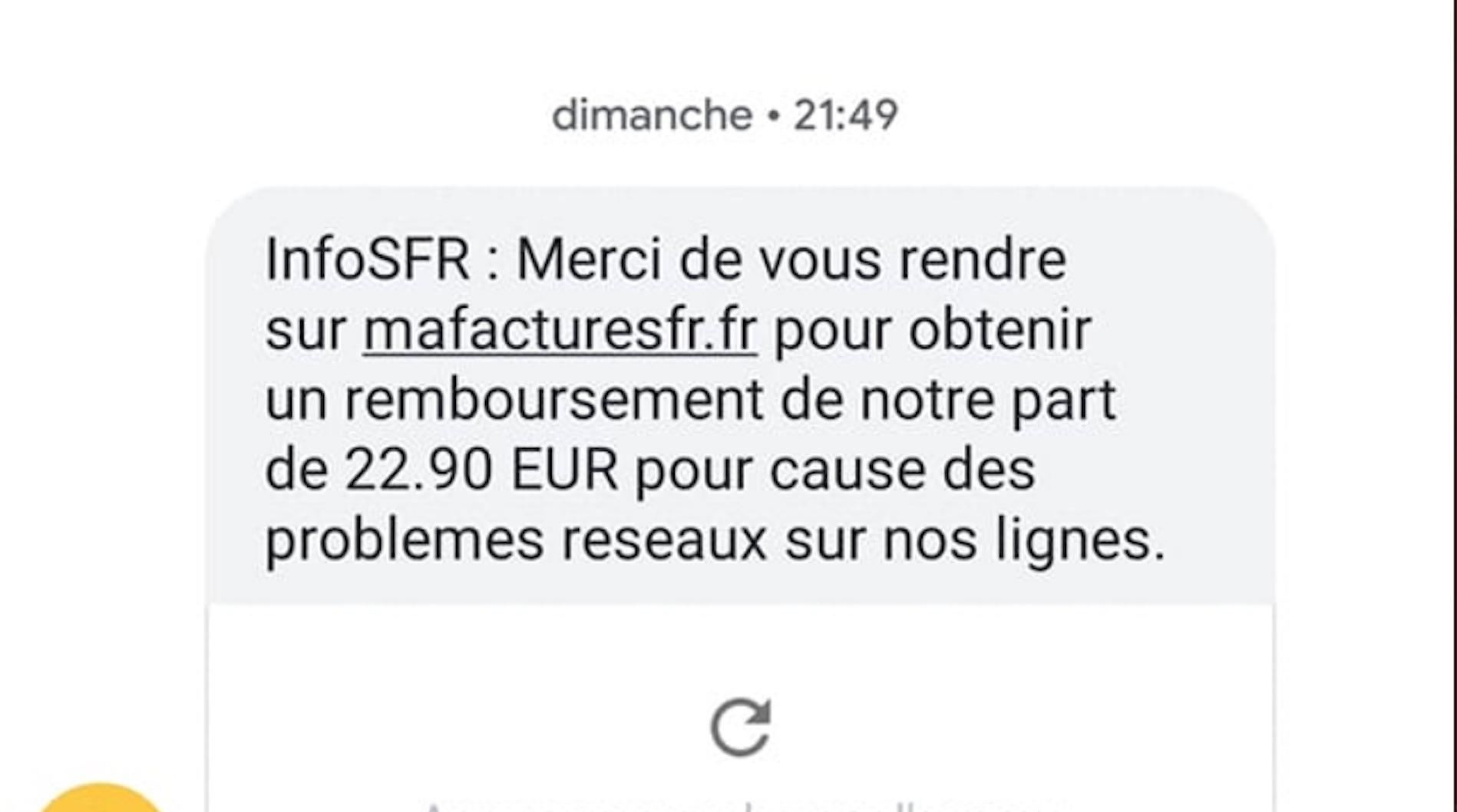 SFR vous propose par SMS un remboursement à cause de «problèmes réseaux»? Attention, c'est un phishing